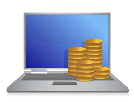 laptop screen: Laptop with money illustration design over white background Illustration