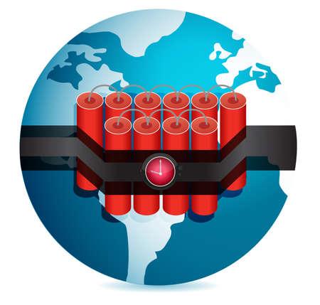 explosive watch: dynamite stuck around globe illustration design over white Illustration