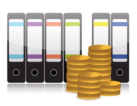 pile of cash: folders and profits illustration design over white