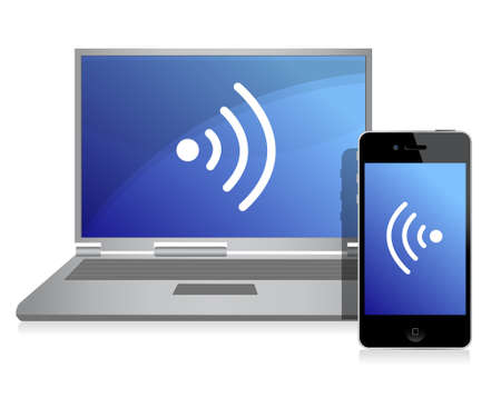 wired connection between mobile phone and laptop Vector