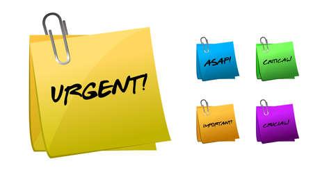 crucial: Urgent messages on post-it notes illustration design
