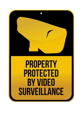 caution cctv: Camera Surveillance sign illustration design over a white background