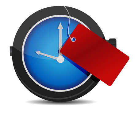 Clock with a red tag illustration design over white Illustration