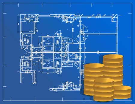 detailed blueprint and coins illustration design  Vector