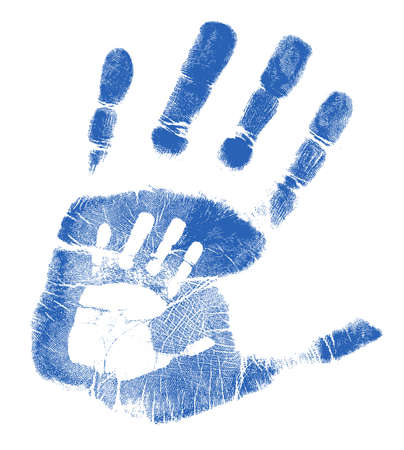 Padre e hijo, diseño, ilustración huellas de manos sobre blanco