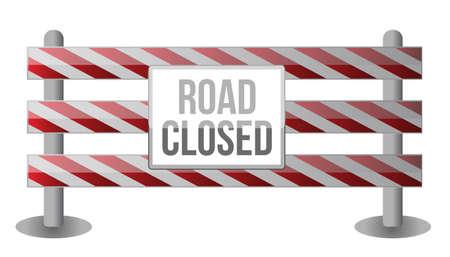 blocco stradale: Singola strada chiusa design illustrazione Barrier su sfondo bianco Vettoriali