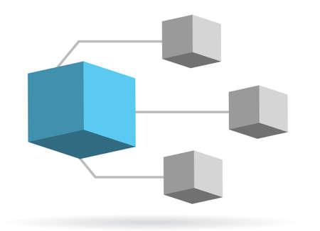 3d box diagram illustration design over white background Иллюстрация