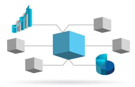 3d manager: 3d box diagram illustration design over white background Illustration