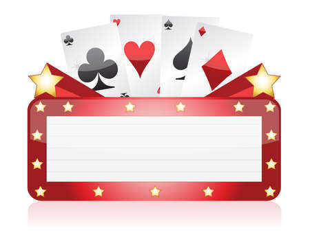 poker cards: Casino neon light sign illustration design over white