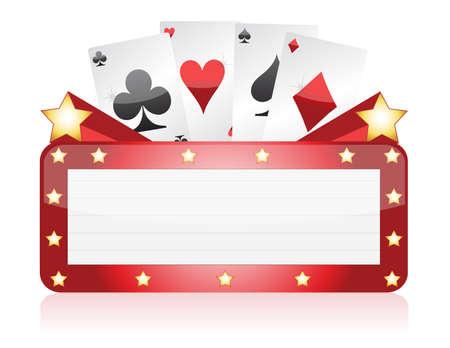 kartenspiel: Casino Neonlicht Zeichen, Illustration, Design in wei� Illustration