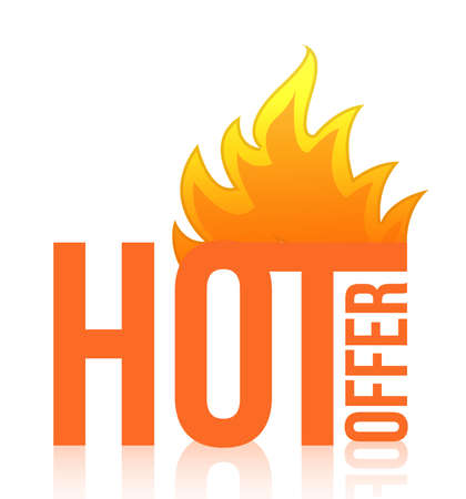 hot offer fire illustration design over white Vector