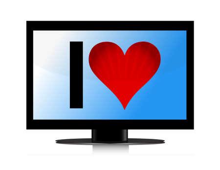 TV set with Heart illustration design over white Stock Vector - 13785045