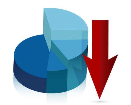 blue pie chart falling profits illustration design Vector