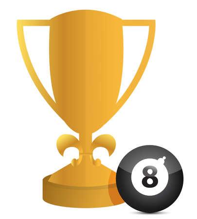 bola ocho: bola de trofeo y al billar, ilustración, diseño en blanco Vectores