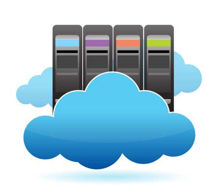 monitoreo: Los servidores y diseño de nubes ilustración más de blanco