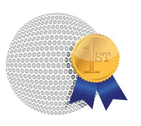 corona: golf ball with award illustration design over white