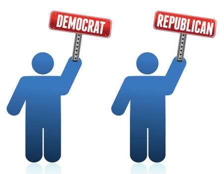 protest sign: democrat and republican icons illustration over white design Illustration