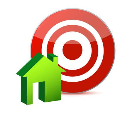 commissions: target and house illustration design over white Illustration