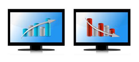 Monitor met op en neer grafieken illustratie ontwerp Stock Illustratie