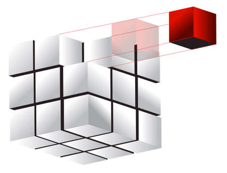 3d cube illustration design over a white background Vector