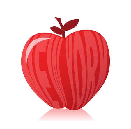 big apple: New york apple illustration design over white background Illustration