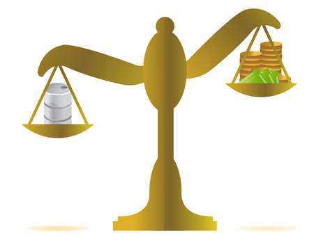 fair trial: money vs oil balance illustration design over white Illustration
