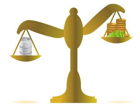 money vs oil balance illustration design over white 矢量图像