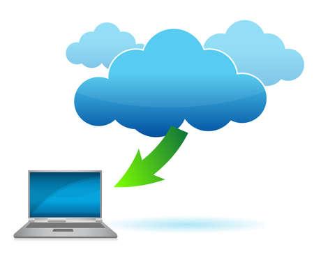 Cloud computing laptop concept illustration design over white