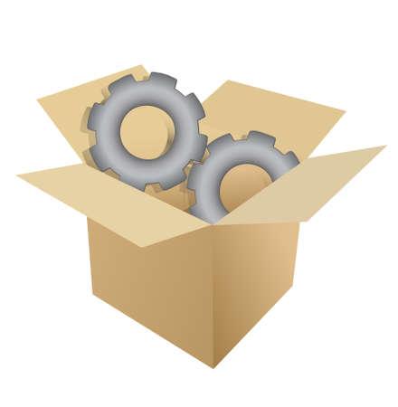 cardboard box gear illustration design over white Illustration