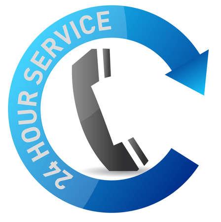 24h: 24 7 service illustration design over white background Illustration