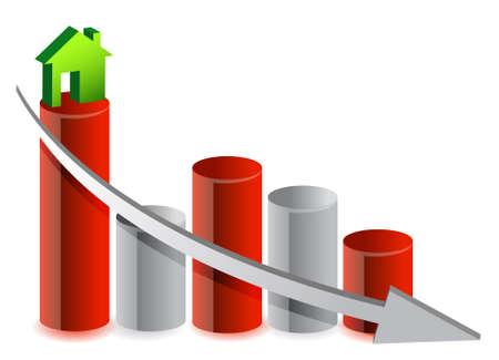 savings problems: falling house market illustration design over white