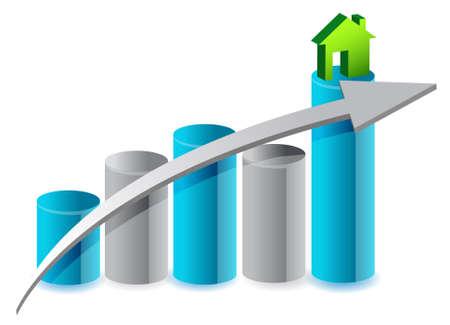 up huizenmarkt illustratie ontwerp op een witte
