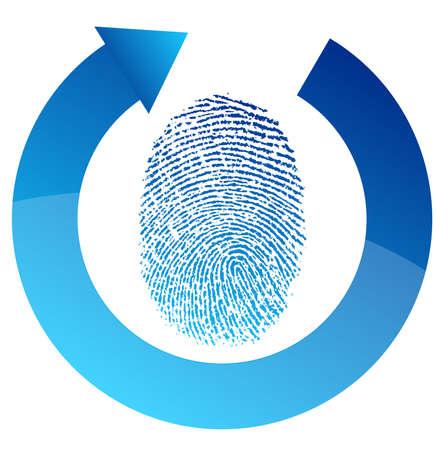 화이트 통해 지문 보안 검사 그림 디자인 일러스트