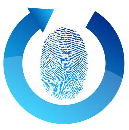 fingerprint security check illustration design over white Stock Vector - 13955457