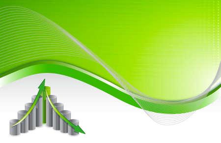 green wave chart business background illustration design  Vector