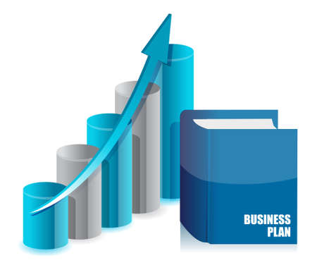 productive: book business and graph chart illustration design
