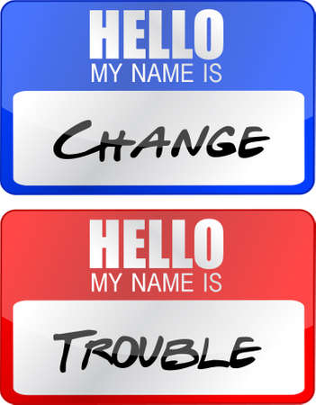 adapting: change and trouble name tags illustration designs over white