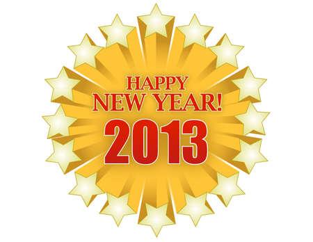 Feliz año 2013 la nueva estrella, ilustración, diseño Foto de archivo - 13955477