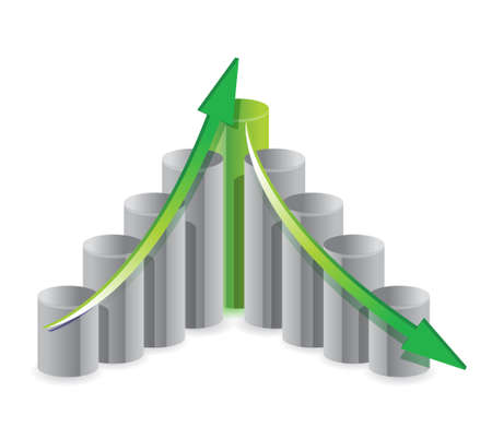 up and down business graph concept illustration design Vector