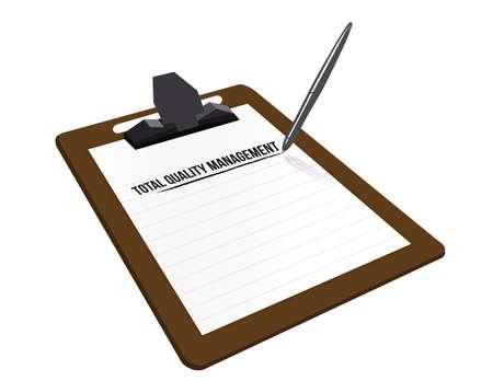 management qualit�: gestion de la qualit� totale illustration presse-papiers de conception sur blanc