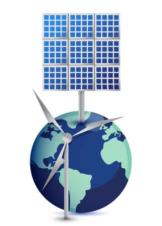source: Miniature Globe with Windmill and Solar Panels on white background Illustration