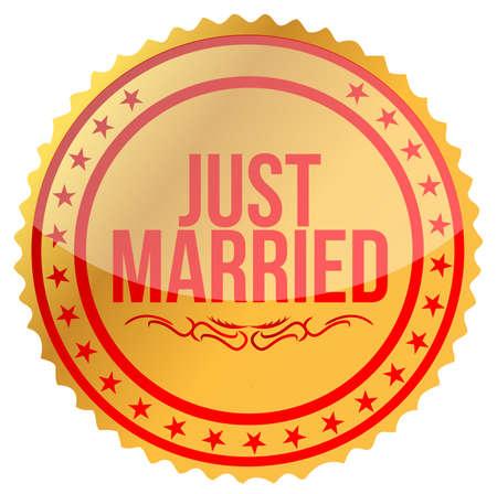 gold Just Married stamp print illustration design Vector