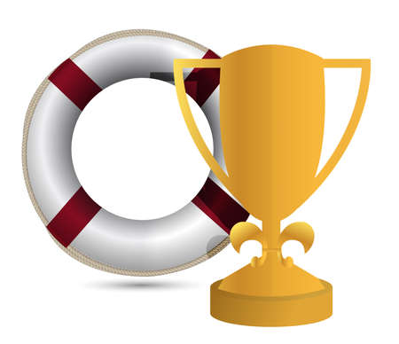 trophy cup Life Buoy on a white background Stock Vector - 13990822