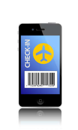 barcode: Online flight check-in using a smartphone illustration