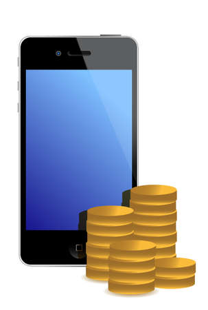 tariff: cellphone and gold coins illustration design over white