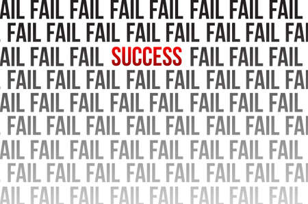 succes rond mislukking illustratie ontwerp op wit Stock Illustratie