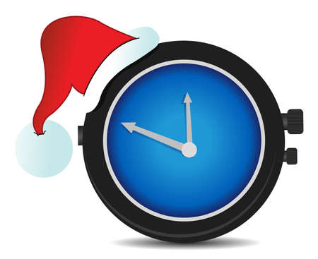alarm clock with a Christmas hat illustration design