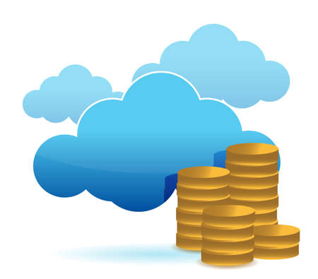 cloud and coins illustration design over white background