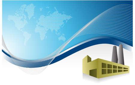 factory blue business background illustration design Vector