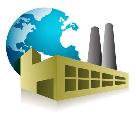 factory: world factory concept illustration design over white